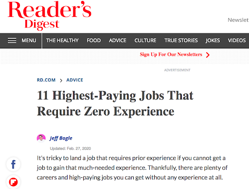 Emotional content for job searchers