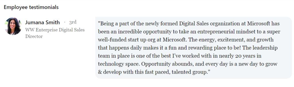 Employees brand ambassadors on Microsoft LinkedIn page
