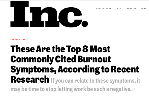 Example emotional content topic - Burnout