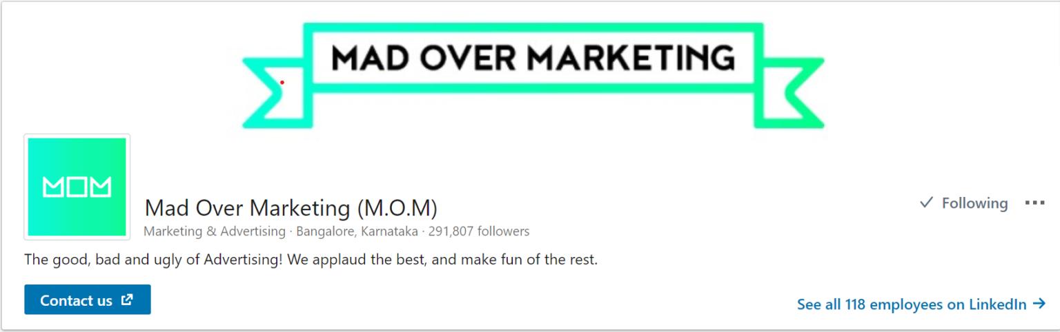 Mad Over Marketing (MOM) LinkedIn page